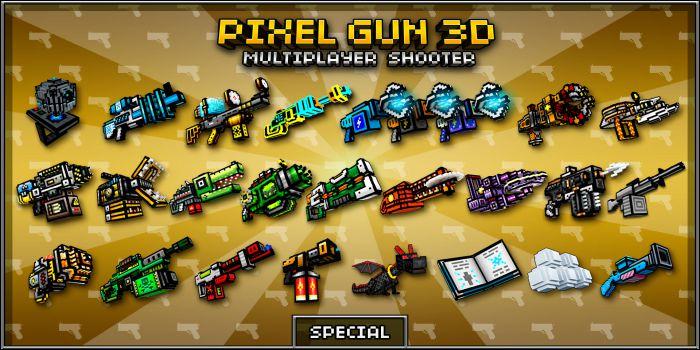 Pixel Gun 3D apk mod weapons